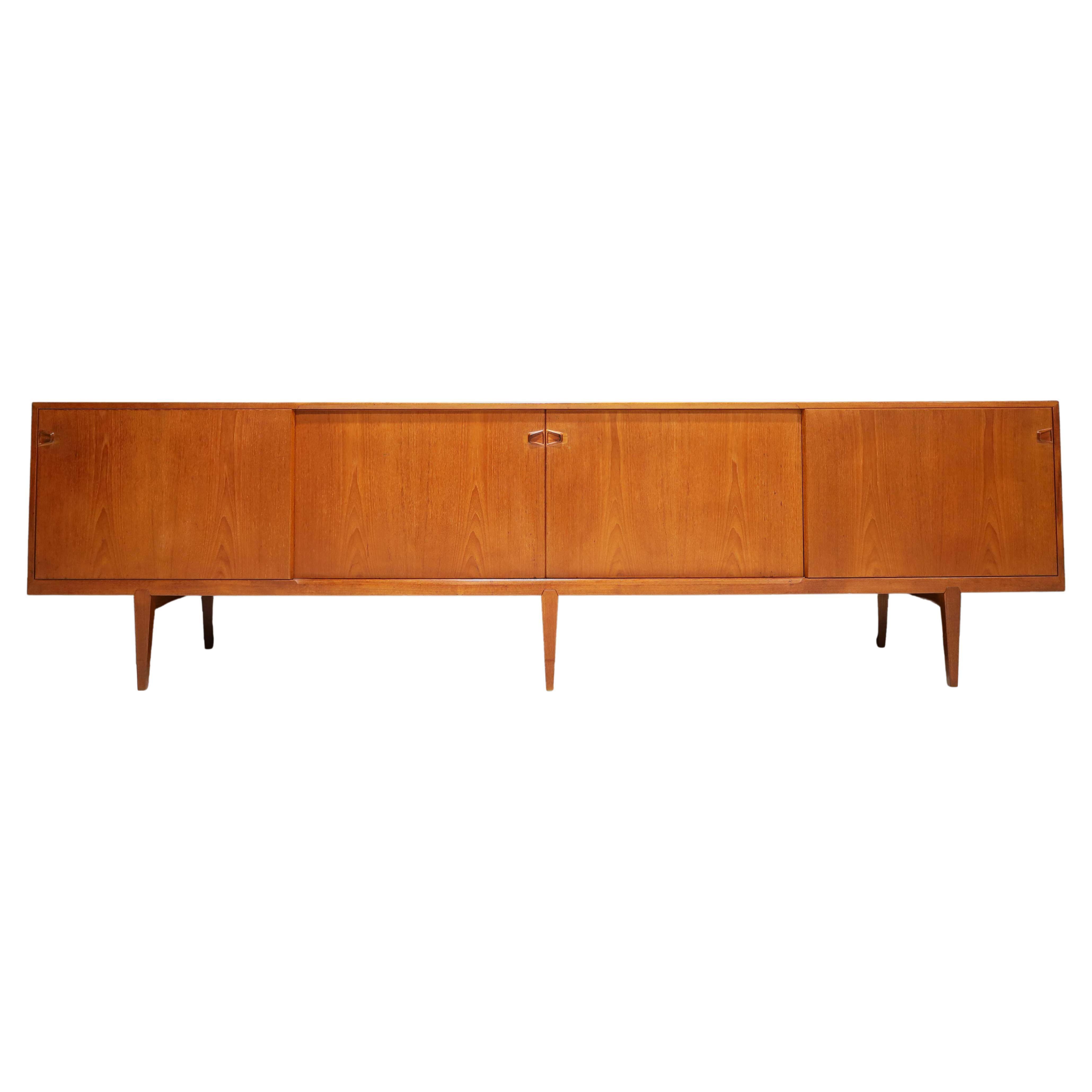 Large 1950s Danish Teak Sideboard by Henry Rosengren Hansen for Brande Møbelindu