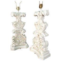 Large 1950s Dorothy Draper Baroque Element Table Lamps