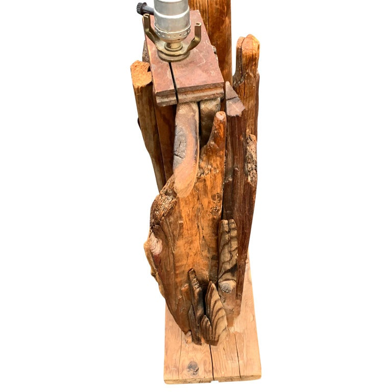 Large 1950s Driftwood Table Lamp For Sale 4