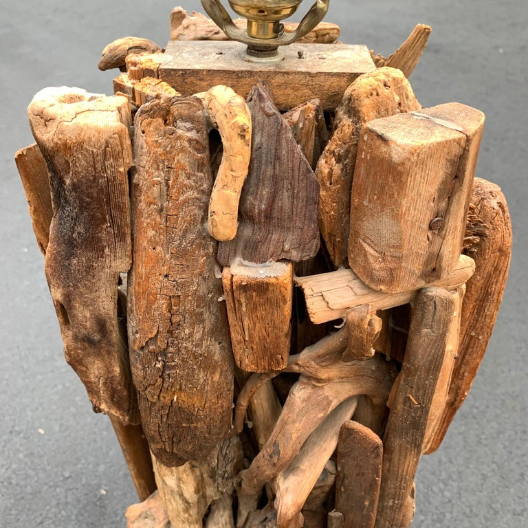 Large 1950s Driftwood Table Lamp For Sale 6