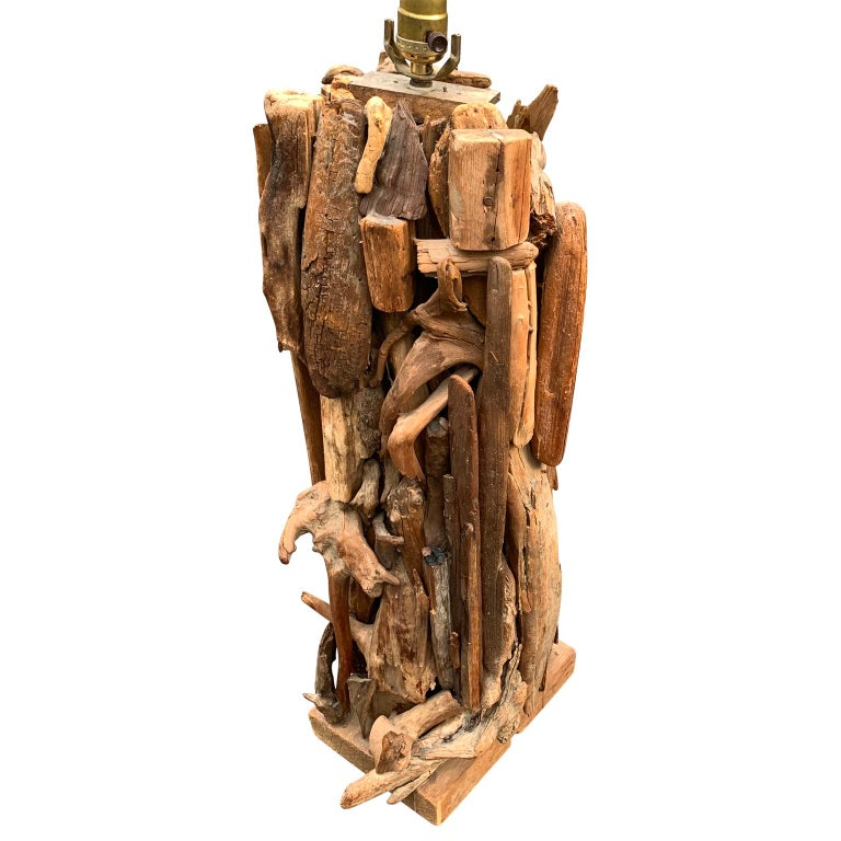 American Large 1950s Driftwood Table Lamp For Sale