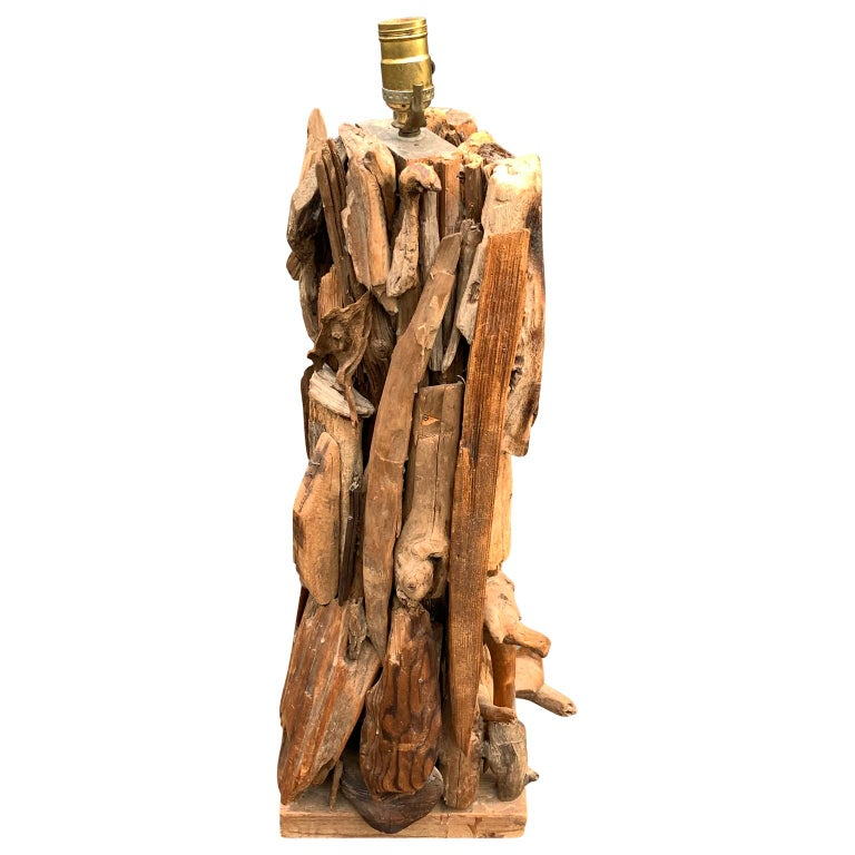 Hand-Crafted Large 1950s Driftwood Table Lamp For Sale