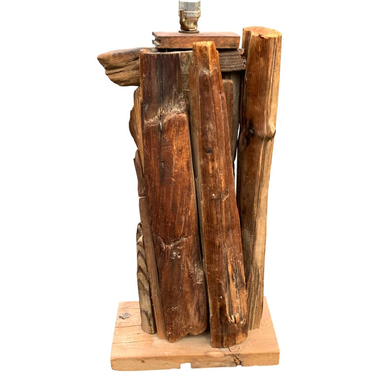 Large 1950s Driftwood Table Lamp For Sale 3