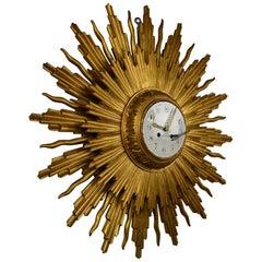 Large 1950s Giltwood Sunburst Clock