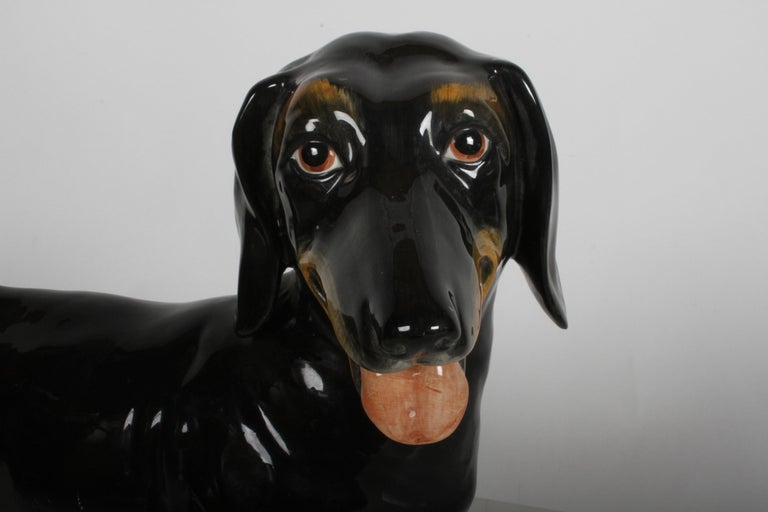 Large 1950s Hand Painted Ceramic Dachshund, Made in Italy In Good Condition For Sale In St. Louis, MO