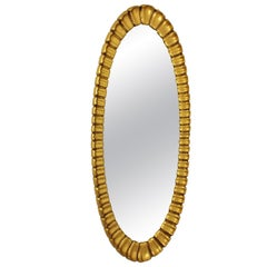 Large 1950s Hollywood Regency Francisco Hurtado Carved Giltwood Oval Mirror