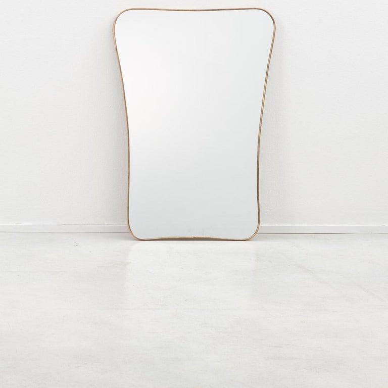 Mid-Century Modern Large 1950s Italian Brass Mirror, Italy, 1950s For Sale