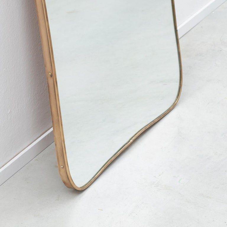 Large 1950s Italian Brass Mirror, Italy, 1950s In Good Condition For Sale In London, GB