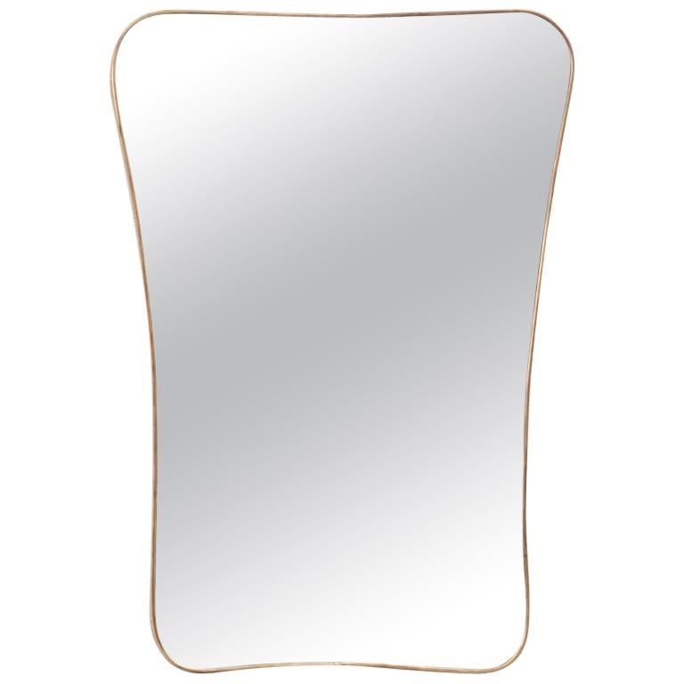 Large 1950s Italian Brass Mirror, Italy, 1950s For Sale