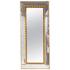 Large 1950s Italian Mirror Giltwood Frame with Inner Carved Frame, circa 1950