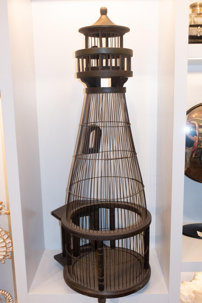 Charming large birdcage. Perfect summer home for your pet bird (lighthouse attendant) or just a beautiful architectural conversation piece.