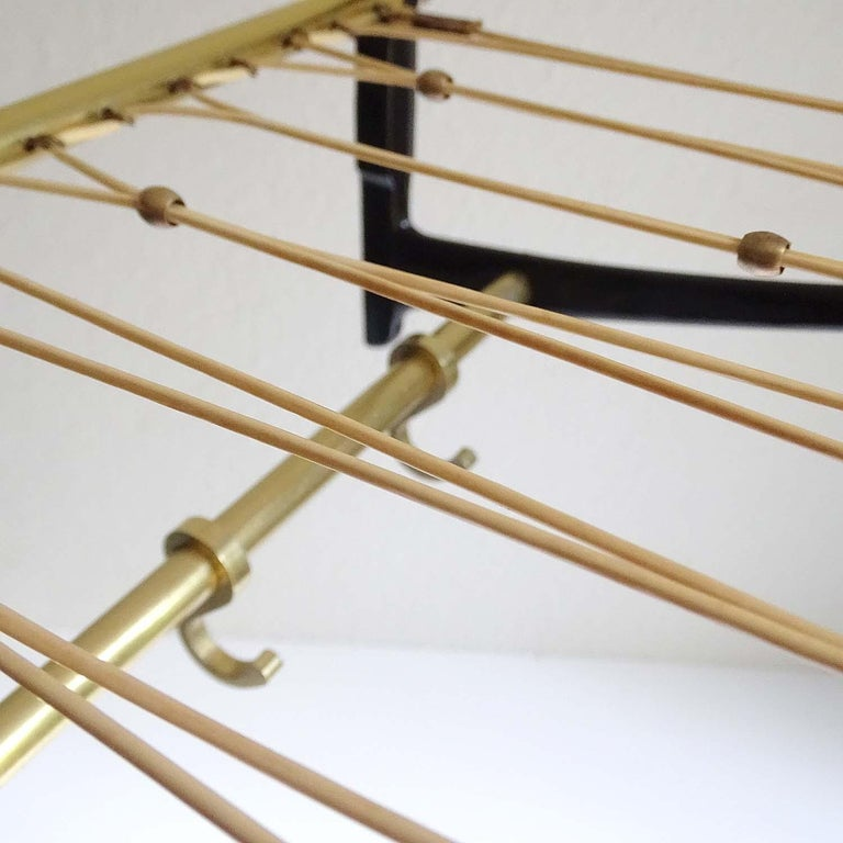 Large 1950s Midcentury Wall-Mount  Coat Hanger Hat Rack with Brass Beads   For Sale 3