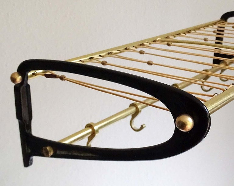 Large 1950s Midcentury Wall-Mount  Coat Hanger Hat Rack with Brass Beads   For Sale 4