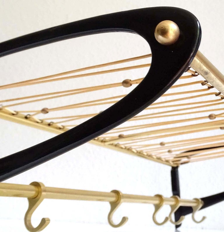 Large 1950s Midcentury Wall-Mount  Coat Hanger Hat Rack with Brass Beads   For Sale 5
