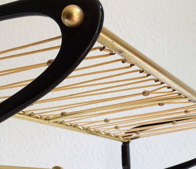 Large 1950s Midcentury Wall-Mount  Coat Hanger Hat Rack with Brass Beads   For Sale 7