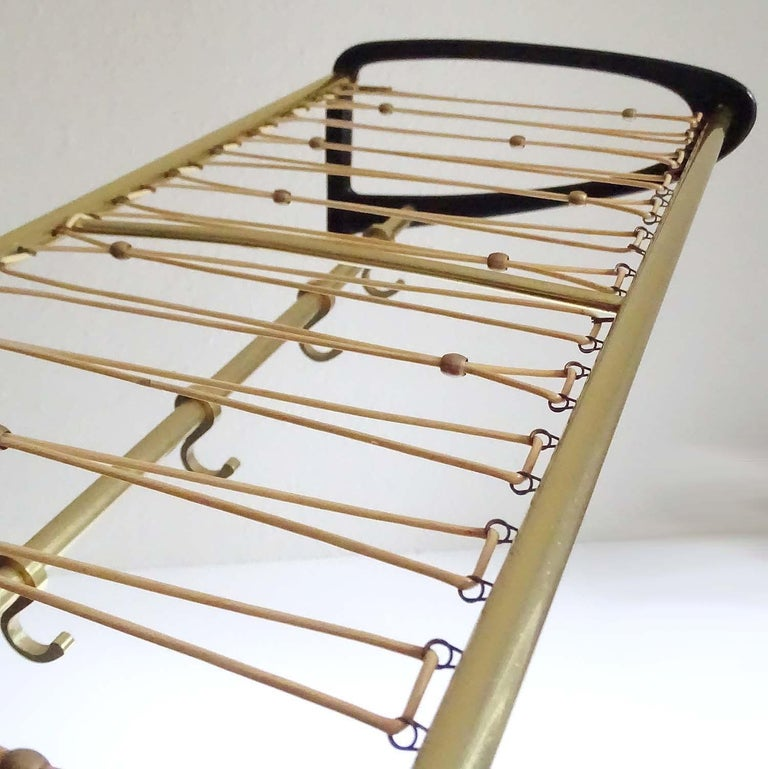 Mid-Century Modern Large 1950s Midcentury Wall-Mount  Coat Hanger Hat Rack with Brass Beads   For Sale