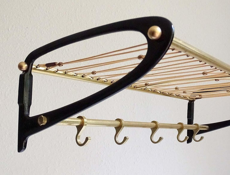 French Large 1950s Midcentury Wall-Mount  Coat Hanger Hat Rack with Brass Beads   For Sale