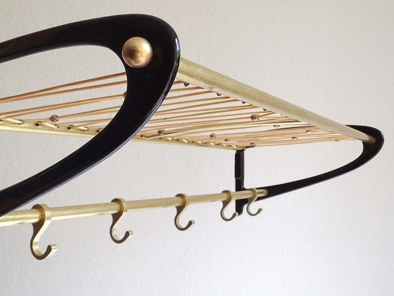 Large 1950s Midcentury Wall-Mount  Coat Hanger Hat Rack with Brass Beads   For Sale 2