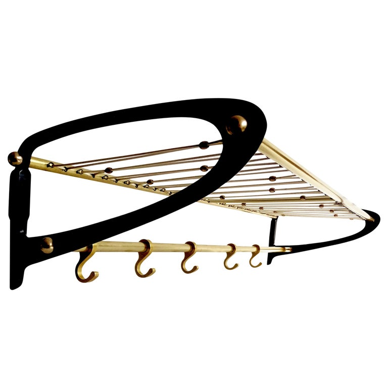 Large 1950s Midcentury Wall-Mount  Coat Hanger Hat Rack with Brass Beads   For Sale
