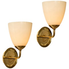 Large 1950s Paavo Tynell Glass and Brass Sconces for Taito Oy