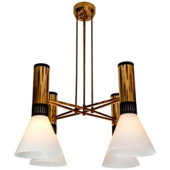 Large 1950s Stilnovo 4-Cone Model #1174 Chandelier