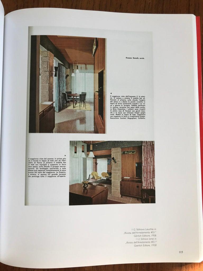 Mid-Century Modern Large 1950s Stilnovo Glass and Brass Pendant For Sale