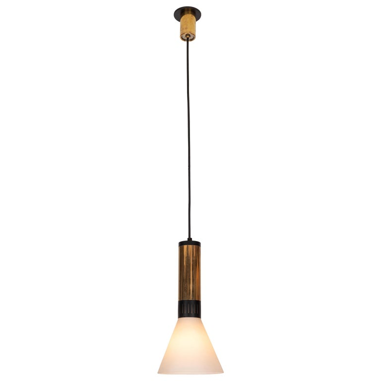 Large 1950s Stilnovo Glass and Brass Pendant For Sale