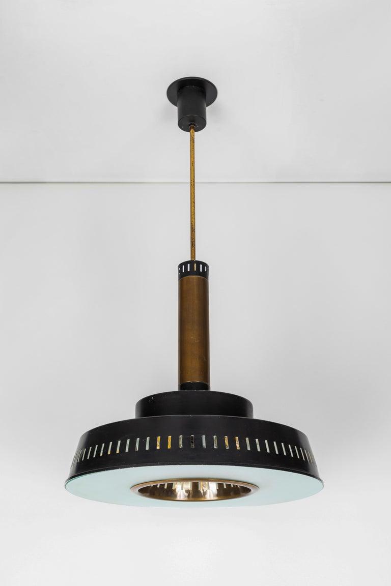 Large 1950s Stilnovo Model #1157 Brass and Glass Suspension Light For Sale 4