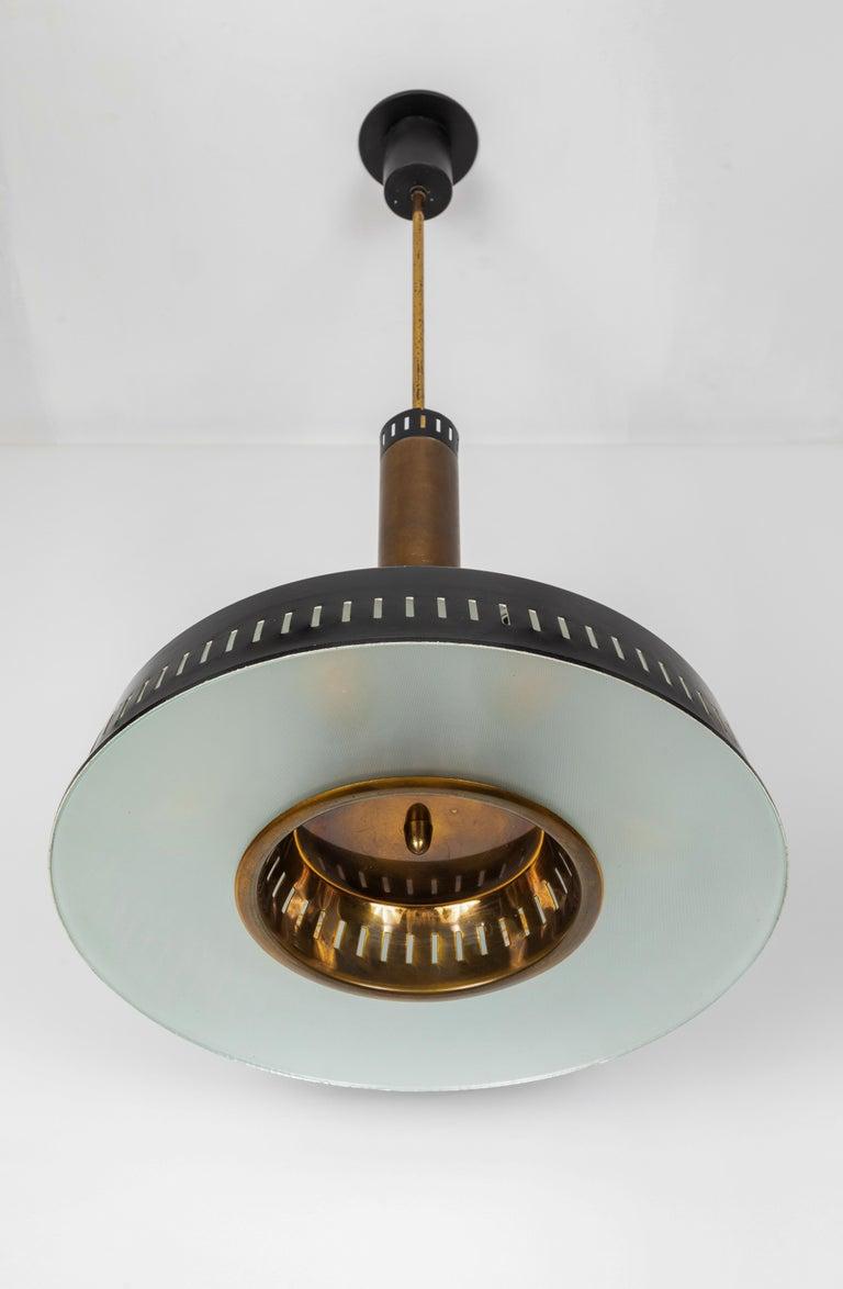 Large 1950s Stilnovo Model #1157 Brass and Glass Suspension Light For Sale 5