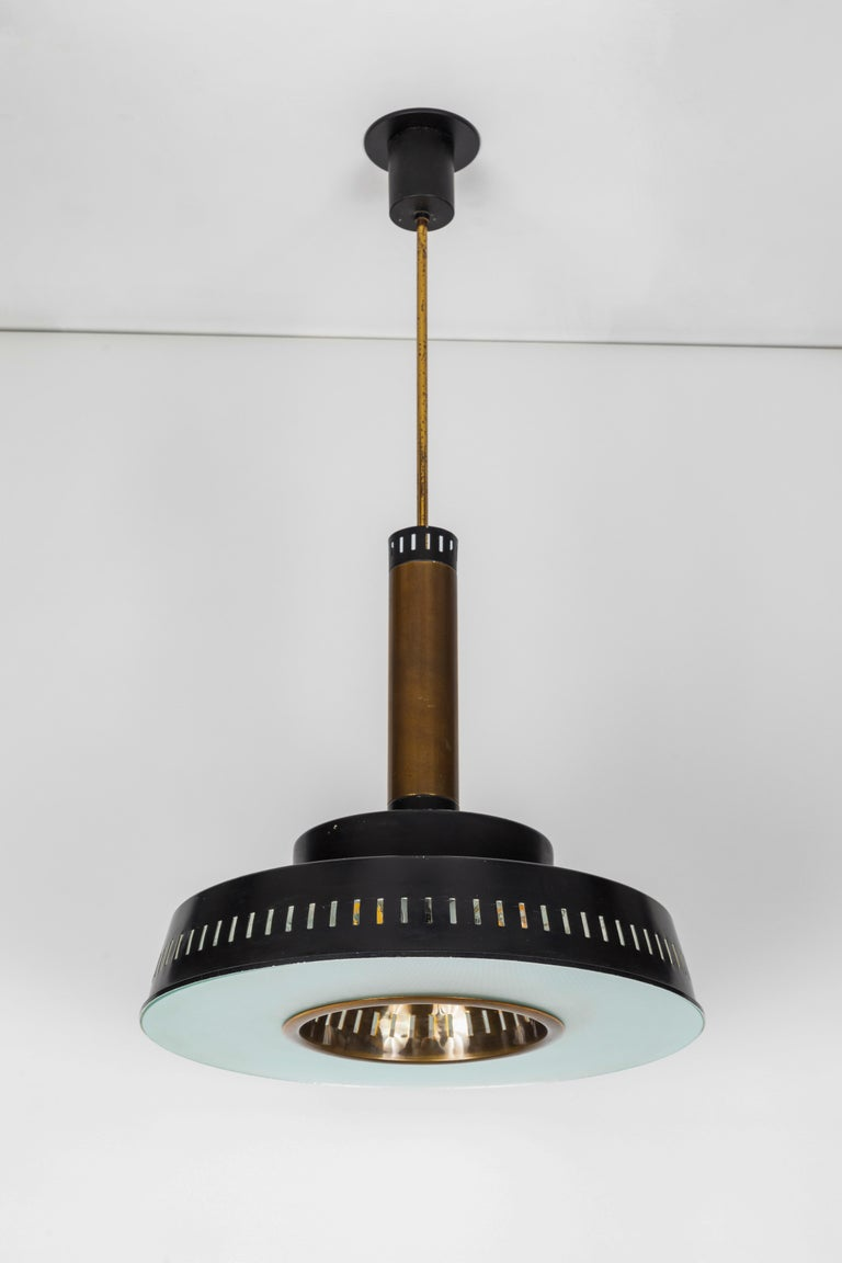 Large 1950s Stilnovo Model #1157 Brass and Glass Suspension Light For Sale 6