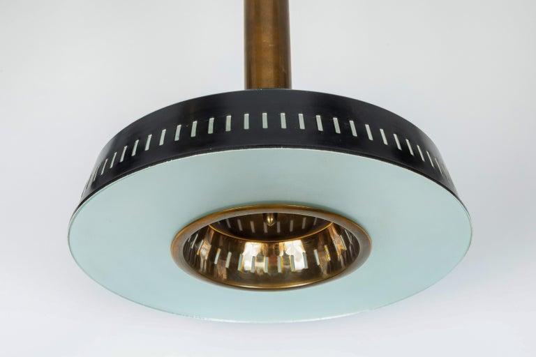 Italian Large 1950s Stilnovo Model #1157 Brass and Glass Suspension Light For Sale