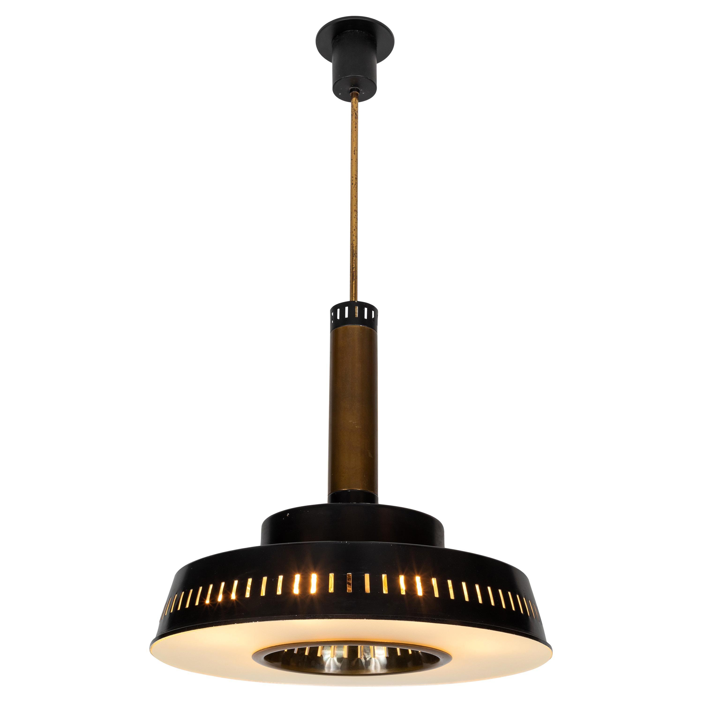Large 1950s Stilnovo Model #1157 Brass and Glass Suspension Light