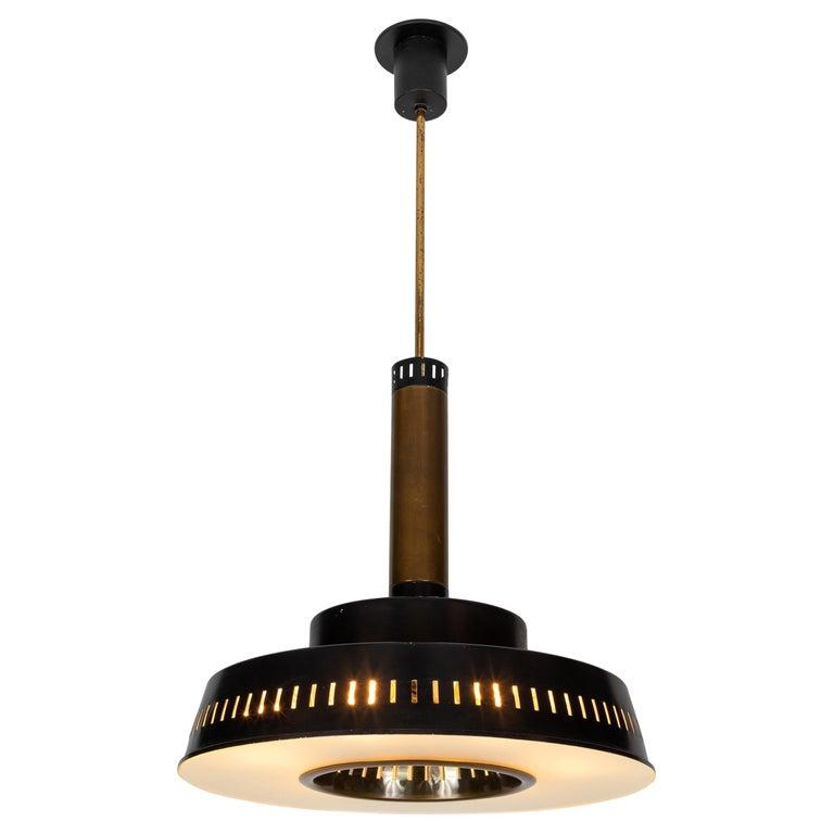 Large 1950s Stilnovo Model #1157 Brass and Glass Suspension Light For Sale