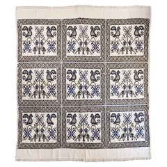 Large 1950s Vintage Mexican Textile with Geometric Cross Stitch Design and Birds