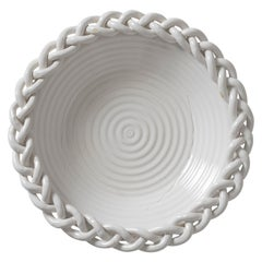 Large 1950s White Faience Braided Motif Bowl, by Emile Tessier