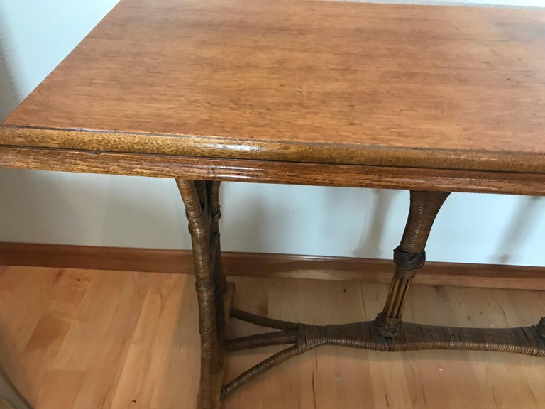 Large 1960s American Rattan Oak Console Table For Sale 5