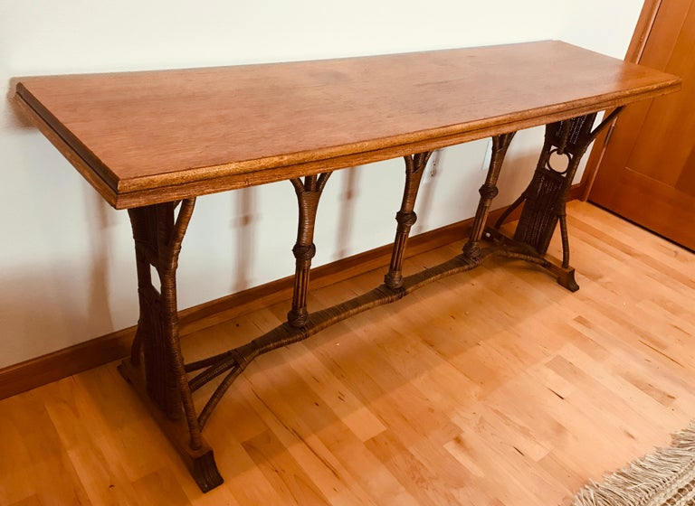 Large 1960s American Rattan Oak Console Table For Sale 6