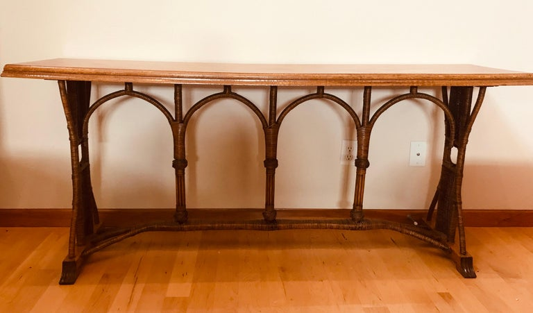 Large 1960s American Rattan Oak Console Table For Sale 8
