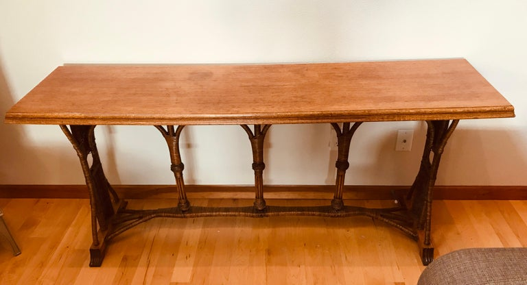 Regency Large 1960s American Rattan Oak Console Table For Sale