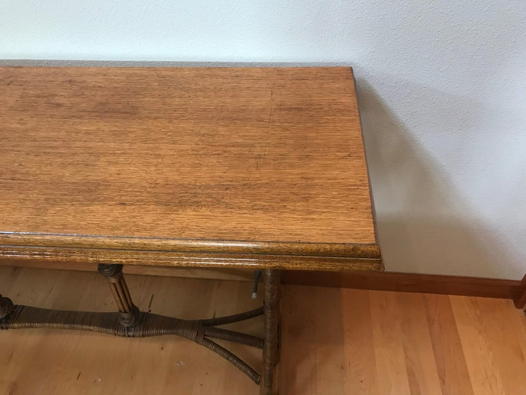 Mid-20th Century Large 1960s American Rattan Oak Console Table For Sale