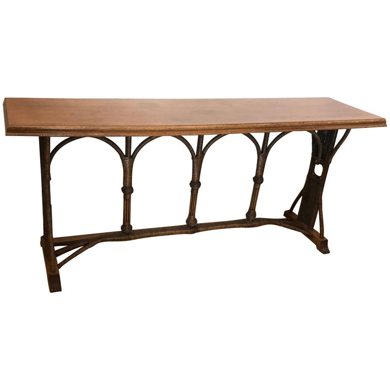 Large 1960s American Rattan Oak Console Table For Sale