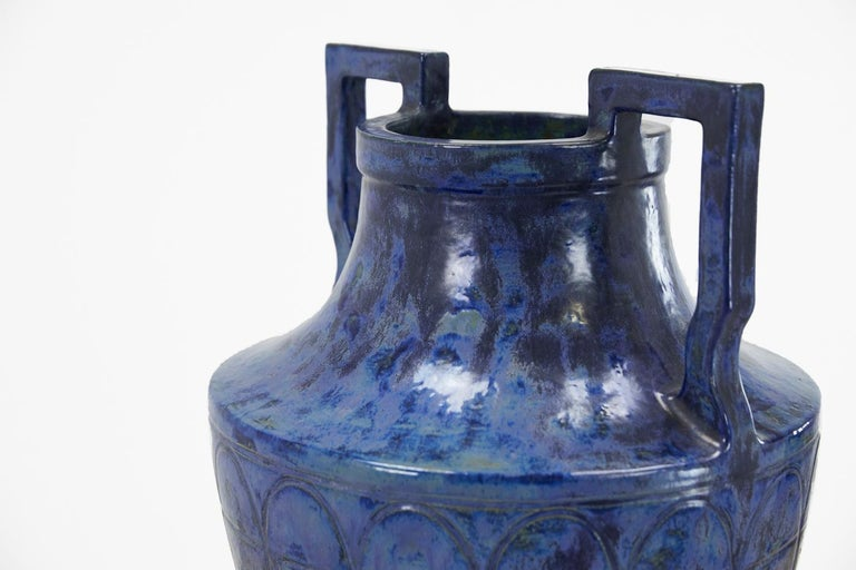 Large 1960s French blue glazed two handled urn.