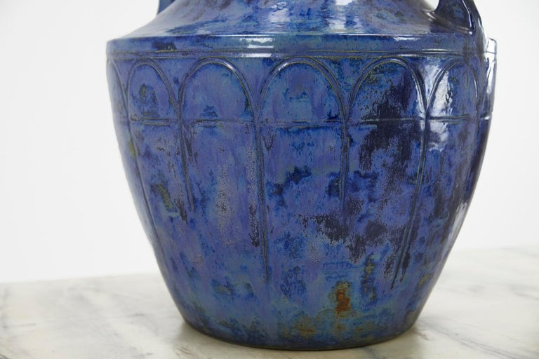 French Large 1960s Blue Glazed Urn For Sale