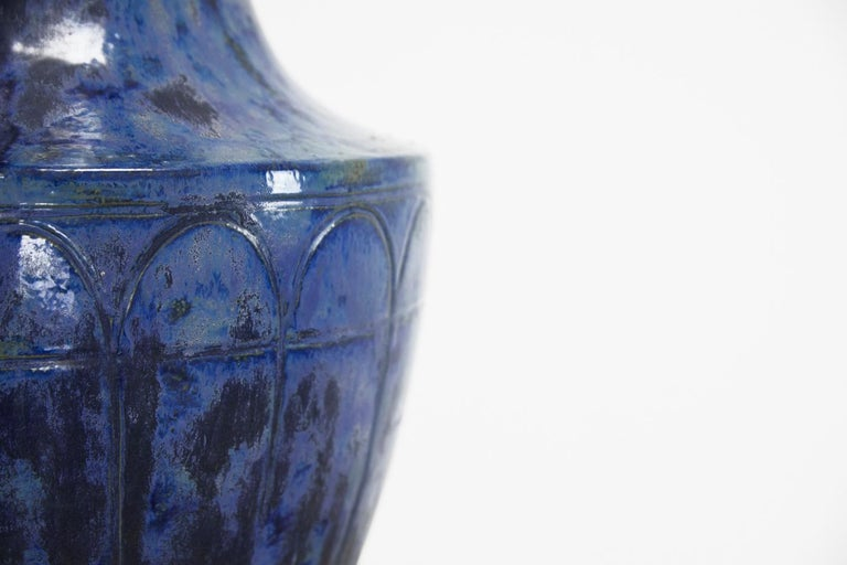 20th Century Large 1960s Blue Glazed Urn For Sale