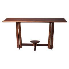 Large 1960s Brazilian Brutalist Console in Solid Wood