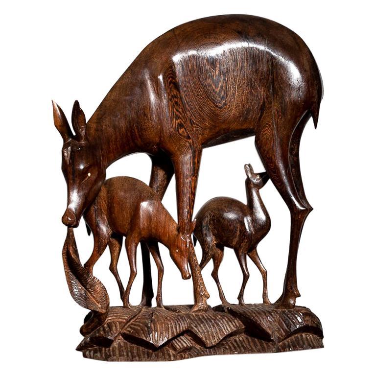 Large 1960s Carved Wenge Wood Deer