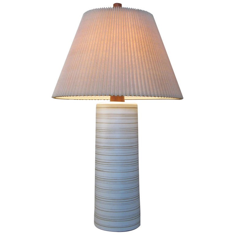 Large 1960s Ceramic and Walnut Lamp by Gordon Martz For Sale