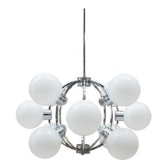 Large 1960s Chrome Ceiling Lamp with 12 Opaline Glass Globes, Germany