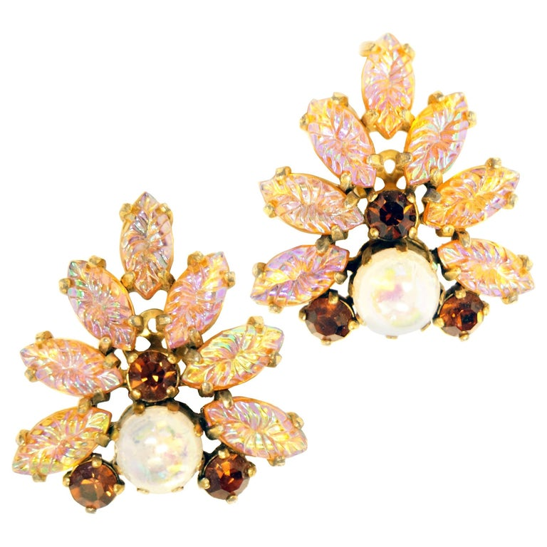 Large 1960s Elsa Schiaparelli Pink Molded Glass Statement Earrings For Sale