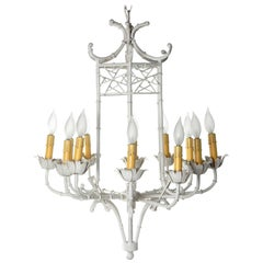 Large 1960s Faux Bamboo Pagoda Chandelier